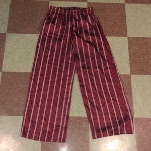Express silky palooza pants striped xs Maroon